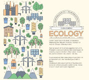 Thin line natural resources modern illustration concept. Infographic way from ecology to clean energy. Icons on  Royalty Free Stock Photos