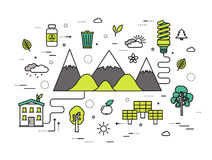 Thin line natural resources modern illustration concept. Infographic way from ecology to clean energy. Icons on  Stock Photo