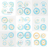 Thin line neat design large logo collection. Thin line neat design large logo colletion - 36 vector clean modern icons and stamps Stock Images