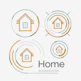 Thin line neat design logo set, home idea Royalty Free Stock Photo