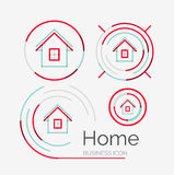 Thin line neat design logo set, home idea Royalty Free Stock Images
