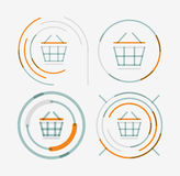 Thin line neat design logo set, shopping cart icon Stock Photography