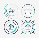 Thin line neat design logo set, shopping cart icon Royalty Free Stock Photo