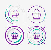 Thin line neat design logo set, shopping cart icon Stock Photo