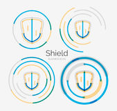 Thin line neat design logo, shield icon set Stock Images