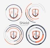 Thin line neat design logo, shield icon set Royalty Free Stock Image