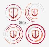 Thin line neat design logo, shield icon set Stock Photos