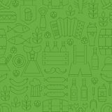 Thin Line Oktoberfest Holiday Seamless Green Pattern Stock Photos