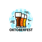 Thin line Oktoberfest vector illustration Royalty Free Stock Photography