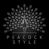 Thin line peacock logo Stock Images
