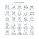 Thin line people avatars Stock Image
