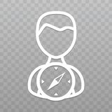 Thin line People with Compass icon. Find direction on transparent background. Eps10 Vector Stock Images