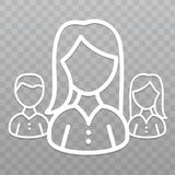 Thin line People icon. Leader woman on transparent background. Eps10 Vector stock illustration