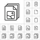 Thin line photo file, gallery icon, different type file icons se Royalty Free Stock Images