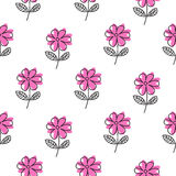 Thin line pink flower vector pattern. Royalty Free Stock Photography