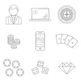 Thin line poker or casino icons set - vector gambling symbols. Royalty Free Stock Photos