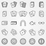 Thin line poker or casino icons vector set Royalty Free Stock Photography