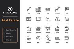 20 Thin Line Real Estate Icons. 20 High quality real estate line icons. For web and user interfaces Stock Image