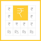 Thin line rupee sign Royalty Free Stock Image