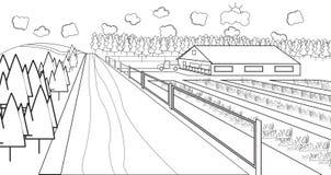 Thin line rural farm Royalty Free Stock Photo