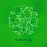Thin Line Saint Patrick Day Icons Set Circle Shaped Concept Royalty Free Stock Photos