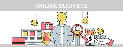 Thin line scribble banner for online business planning Stock Images