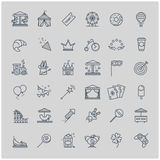 Thin line set - amusement park icons Royalty Free Stock Image