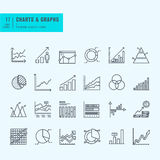Thin line set of charts, graphs and diagrams Royalty Free Stock Photos