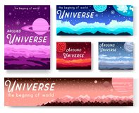 Thin line set of colorful covers with different planets and Around Universe headline concept.  Vector flat outline desig. N illustration Royalty Free Stock Photography