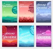 Thin line set of colorful covers with different planets and Around Universe headline concept.  Vector flat outline desig. N illustration Royalty Free Stock Photo