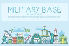 Thin line set of different rocket weapons and vehicles on military base concept.  Outline military base vecto. R illustrationd design Stock Photography