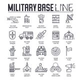 Thin line set of different rocket weapons and vehicles on military base concept.  Outline military base vecto. R illustrationd design Royalty Free Stock Photography