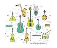 Thin line set of musical instruments modern illustration concept. Infographic way from melody to concert. Icons. On background Stock Photos