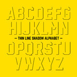 Thin line shadow alphabet Stock Images