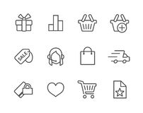 Thin line Shopping icons set. Royalty Free Stock Images