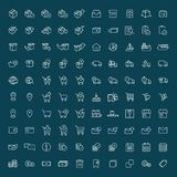 Thin line 100 shopping, shipping and delivery icons set on dark Royalty Free Stock Photos