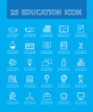 25 thin line simple and beautiful icons. For use in education vector. Education and Icon Concept Stock Photography