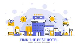 Flat Line Modern Concept Illustration - Hotel. Thin line smooth gradient flat design banner of Find the best hotel for website and mobile website, easy to use Stock Photos