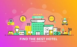 Flat Line Modern Concept Illustration - Hotel. Thin line smooth gradient flat design banner of Find the best hotel for website and mobile website, easy to use Stock Image