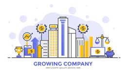 Flat Line Modern Concept Illustration - Growing Company. Thin line smooth gradient flat design banner of Growing Company for website and mobile website, easy to Stock Image