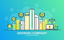 Flat Line Modern Concept Illustration - Growing Company. Thin line smooth gradient flat design banner of Growing Company for website and mobile website, easy to Royalty Free Stock Image
