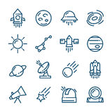 Thin line Space icons set, vector illustration Royalty Free Stock Images
