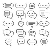 Thin line speech bubble icons. Vector line plain speak bubbles, chat conversation or text comment signs Royalty Free Illustration