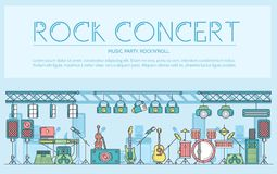 Thin line stage with different music instrunents and equipment for plating rock`n`roll concept.  Vector flat outlin. E festival on rock concert design Royalty Free Stock Photos