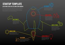 Thin line startup infographic template stock illustration