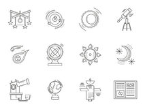 Thin line style astronomy icons. Astronomy symbols and space objects. Set of thin flat line style science and education icons. Design symbols for website and stock images
