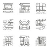 Thin line style cafe and bungalows icons Stock Photo