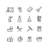 Thin line style cleaning vector icons Stock Photos