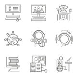 Thin line style distant education icons Stock Photography
