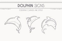 Thin line style dolphin - set of marine mammals Stock Photography